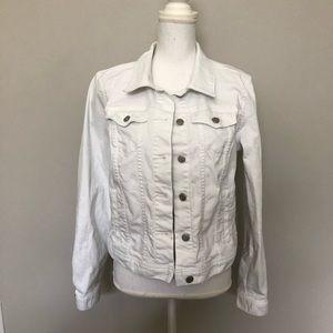 Loft Jacket Jean Cropped Pockets Buttons White